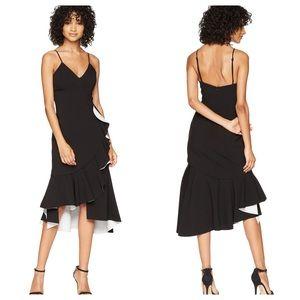 NWT Bardot Black White Ruffle Kiki Scuba Dress